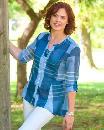 Picture of Fit and Flare Tunic - Denim Stripe