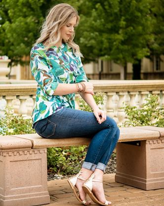 Picture of Fit and Flare Tunic - Turquoise Palms