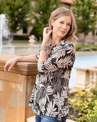 Picture of Fit and Flare Tunic - Black Floral