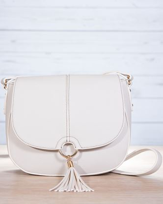 Picture of Saddle Contrast Stitch Saddle Bag - Dove