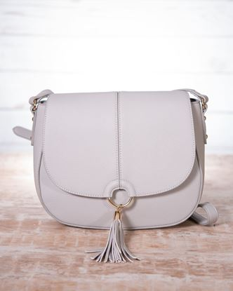 Picture of Saddle Contrast Stitch Saddle Bag - Ivory