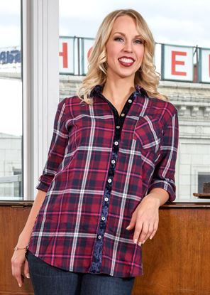 Picture of Plaid Mix Tunic - Berry Paisley