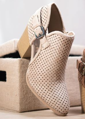 Picture of Perforated Bootie with Buckle - Taupe