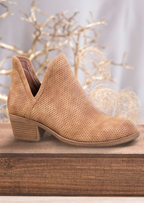 Picture of Deep V Perferated Bootie - Brown