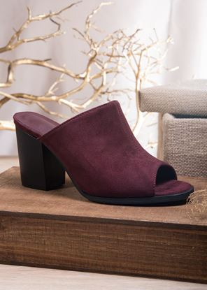 Picture of Open Toe Stack Heel Mule - Wine
