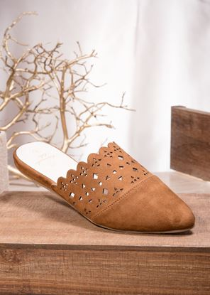 Picture of Laser-Cut Mule - Cognac