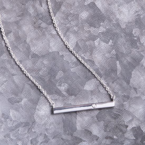 Picture of Bar Necklace with Single CZ - Silver