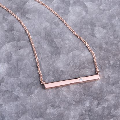 Picture of Bar Necklace with Single CZ - Rosegold