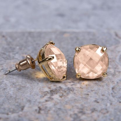 Picture of Cushion Cut Crystal Stud Earrings - Rosegold