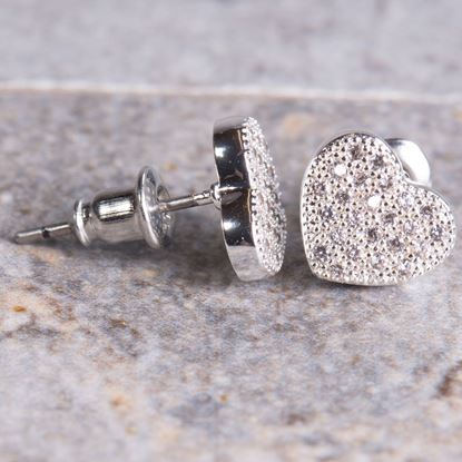 Picture of Pavé Heart Stud Earrings - Silver