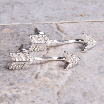 Picture of Pavé Behind-the-Ear Arrow Earrings - Silver