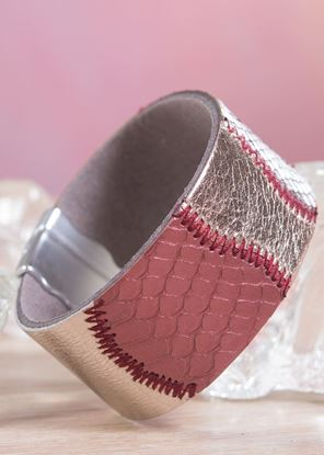 Picture of Leather Patchwork Cuff Bracelet - Burgundy Bronze