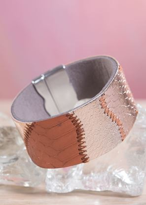 Picture of Leather Patchwork Cuff Bracelet - Copper Bronze
