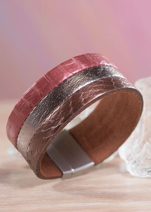 Picture of Leather 3-Strip Cuff Bracelet - Burgundy Bronze