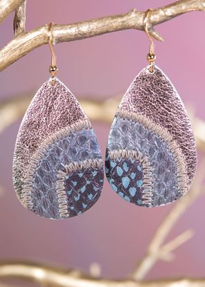 Picture of Leather Patchwork Teardrop Earring - Denim Bronze