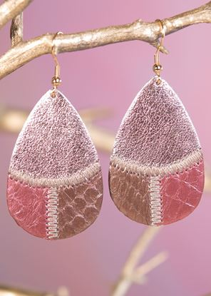 Picture of Leather Patchwork Teardrop Earring - Burgundy Bronze