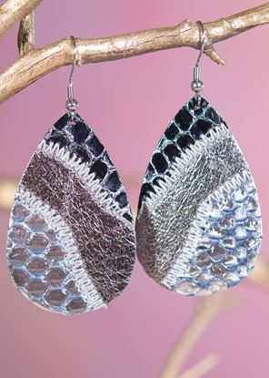 Picture of Leather Patchwork Teardrop Earring - Silver Bronze