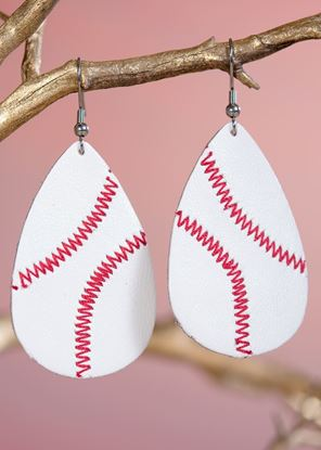 Picture of Leather Teardrop Earring - Baseball