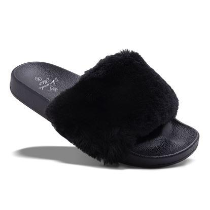 Picture of Faux Fur Slide - Black - Case of 12