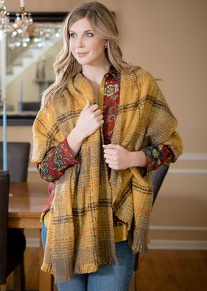 Picture of Super-Soft Plaid Scarf Wrap - Butterscotch