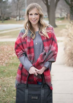 Picture of Super-Soft Plaid Scarf Wrap - Gray Samba