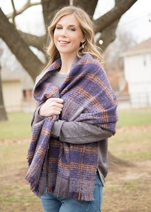 Picture of Super-Soft Plaid Scarf Wrap - Amethyst