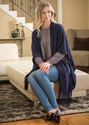Picture of Crochet Poncho - Navy