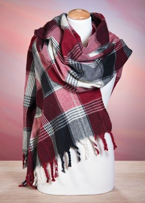 Picture of Plaid Blanket Wrap - Red/Black