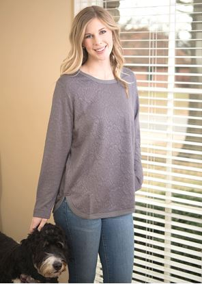 Picture of Cozy Floral Tunic Size - Gray
