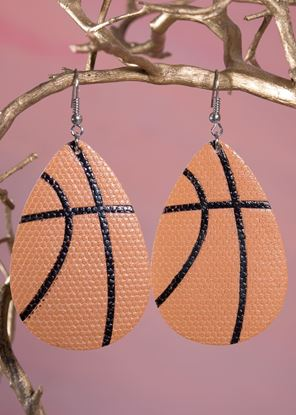 Picture of Leather Teardrop Earring - Basketball