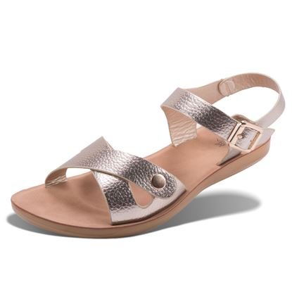 Picture of Abigail - Metallic Criss Cross Snap Sandal - Champagne - Size Run A