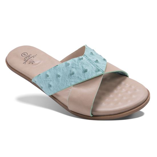 Picture of Alexa - Ostrich Criss-Cross Slide - Seafoam - Size Run A
