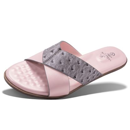 Picture of Alexa - Ostrich Criss-Cross Slide - Pink - Size Run A