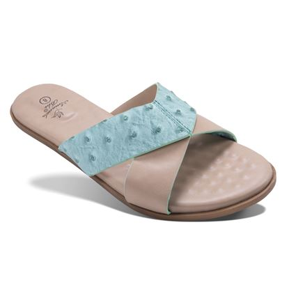 Picture of Alexa - Ostrich Criss-Cross Slide - Seafoam - Size Run B