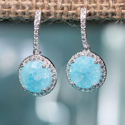 Picture of Cracked Zircon Drop Earrings - Aqua - Silver