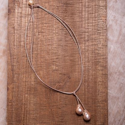 Picture of Baroque Pearl Drop Leather Necklace - Rose Gold