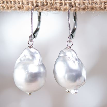 Picture of Baroque Pearl Drop Earrings - SILVER