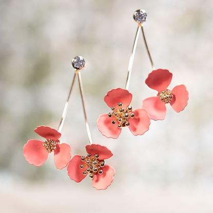 Picture of Double Flower Drop With Crystal Earring - Coral