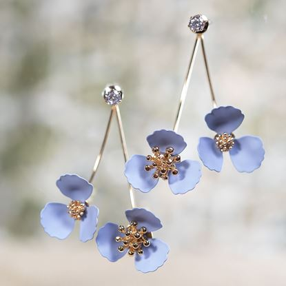 Picture of Double Flower Drop With Crystal Earring - Periwinkle