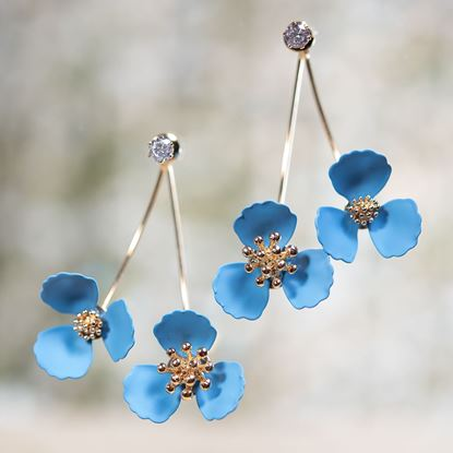Picture of Double Flower Drop With Crystal Earring - Sky