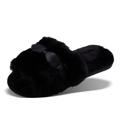 Picture of Satin Bow Sandal Slipper - Black Size Run