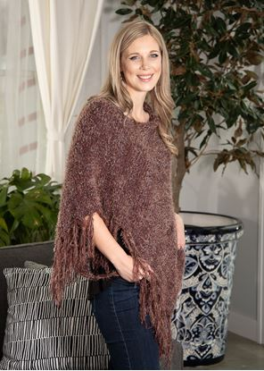 Picture of Asymmetrical Fringe Poncho - Woodrose