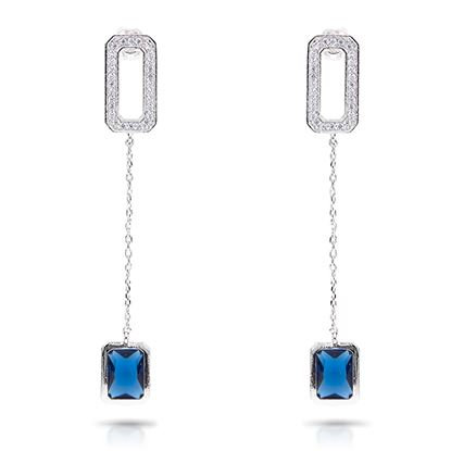 Picture of Baguette Drop Long Earrings - Blue - Silver