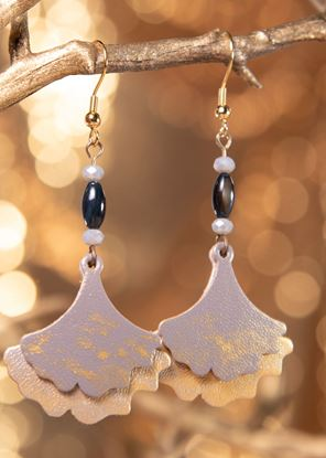 Picture of Ginko Leaf Leather Earrings - Harbor
