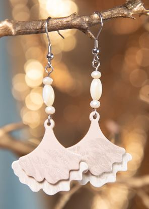 Picture of Ginko Leaf Leather Earrings - Ivory