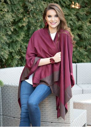 Picture of Reversible Wrap - Wine/Dark Taupe