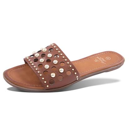 Picture of Haley Studded Laser-Cut Slide Sandal 6-10 Size Run A (9 Pack) - Brown