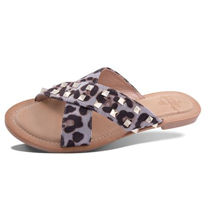 Picture of Janelle Studded Animal Criss-Cross Slide Sandal 6-10 Size Run A (9 Pack) - Gray Leopard