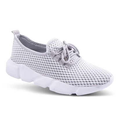 Picture of Laced Athleisure Sneaker 6-10 Size Run A (9 Pack) - White/Gray Mesh