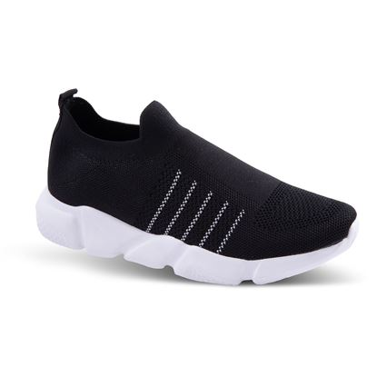 Picture of Slip-On Athleisure Sneaker 6-10 Size Run A (9 Pack) - Black Stripe Solid
